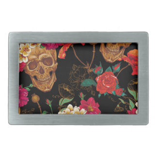 floral Skulls Rectangular Belt Buckle