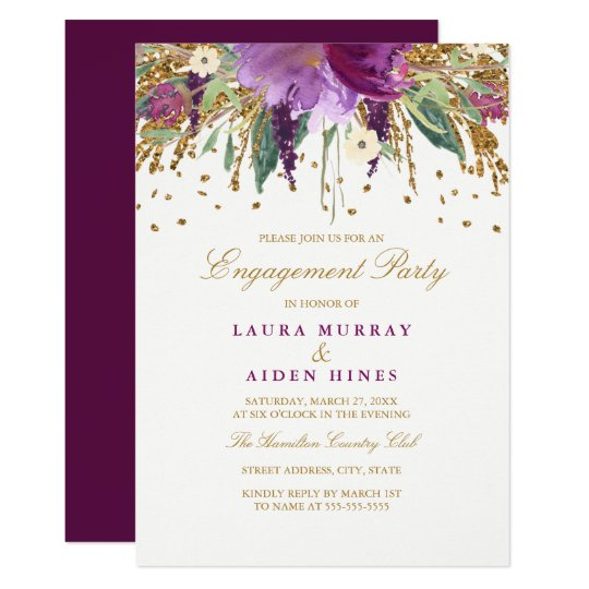 Floral Sparkling Amethyst Engagement Party Card