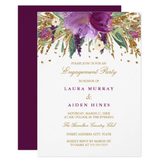 Floral Sparkling Amethyst Wedding Engagement Party Card