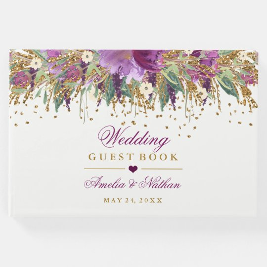 Floral Sparkling Amethyst Wedding Guest Book