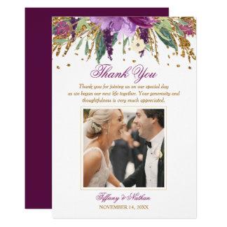 Floral Sparkling Amethyst Wedding Photo Thank You Card