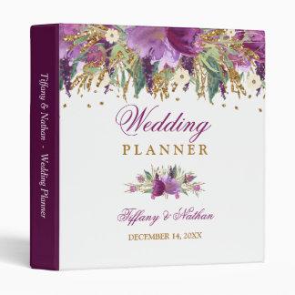 Floral Sparkling Amethyst Wedding Planner Binder