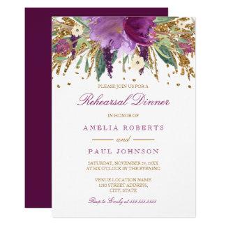 Floral Sparkling Amethyst Wedding Rehearsal Dinner Card