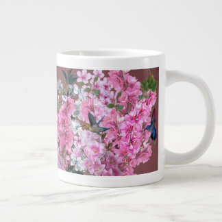 Floral Splash and Hummingbirds in Tropical Garden Large Coffee Mug