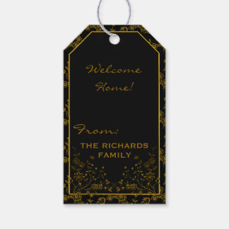 Floral Spray-BLACK-GOLD-GIFT TAGS