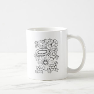Floral Spray Five Line Art Design Coffee Mug