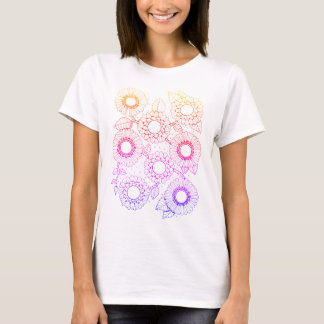 Floral Spray Four Line Art Design T-Shirt