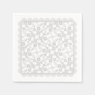 Floral Spray,Lace-Bridal White-PAPER PARTY NAPKINS Disposable Napkins