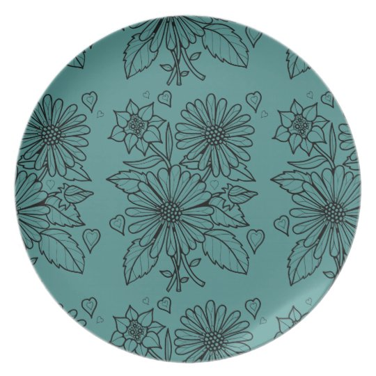 Floral Spray Line Art Design Plate