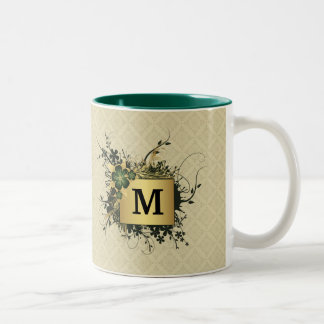 Floral Spray Personalized Two-Tone Coffee Mug