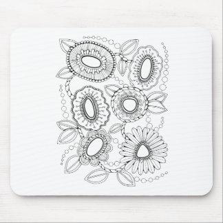 Floral Spray Seven Line Art Design Mouse Pad