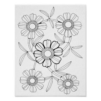 Floral Spray Three Cardstock Adult Coloring Spray Poster