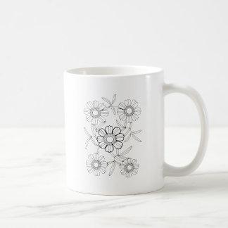 Floral Spray Three Line Art Design Coffee Mug