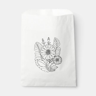 Floral Spray Two Line Art Design Favour Bag