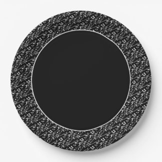 Floral Spray,White-Black 5-PAPER PARTY PLATES