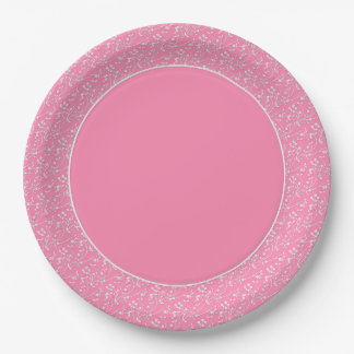 Floral Spray,White-Pink 5-PAPER PARTY PLATES