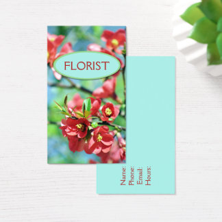 Floral Spring Blooms Red Flowers Bright Blue Sky Business Card