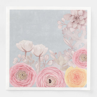 Floral Spring Greatings - Pastell Flowers Paper Napkins