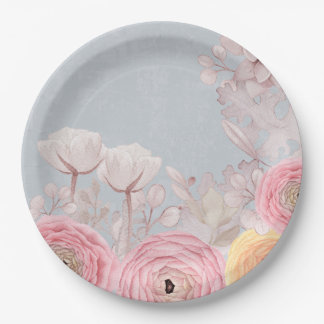 Floral Spring Greatings - Pastell Flowers Paper Plate