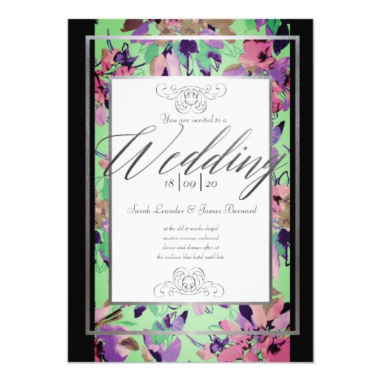 Floral Spring or Summer Wedding Invitation