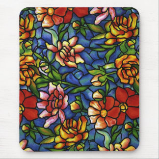 Floral Stained Glass Mouse Pad