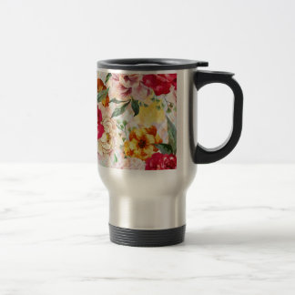 """Floral"" Stainless Steel 15 oz Travel/Commuter Mug"
