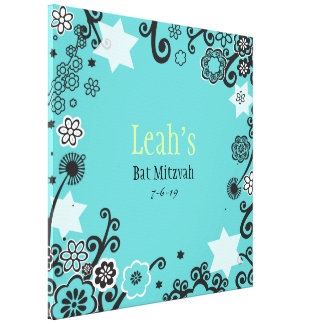 Floral Star Aqua Bat Mitzvah Sign-In Board Canvas Print