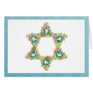 Floral Star of David Card