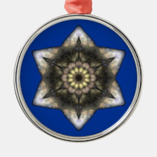 Floral Star of David Silver-Colored Round Ornament