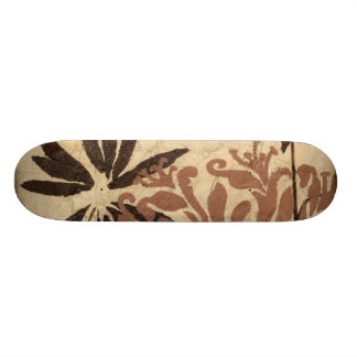 Floral Stencil Design with Tawny Leaves Skate Boards
