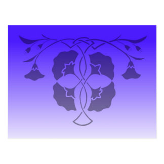 Floral stencil with celtic knot in blue postcard