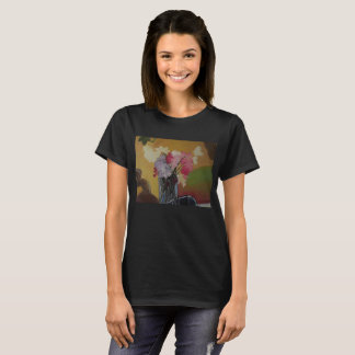 Floral Still life by Amber Whiteman on black shirt