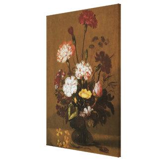 Floral Still Life Flowers in Vase, Vintage Baroque Stretched Canvas Print