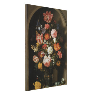 Floral Still Life Flowers in Vase, Vintage Baroque Canvas Print