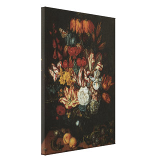 Floral Still Life Flowers in Vase, Vintage Baroque Stretched Canvas Prints
