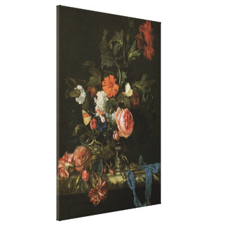 Floral Still Life Flowers in Vase, Vintage Baroque Canvas Print