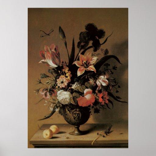 Floral Still Life Flowers in Vase, Vintage Baroque Posters