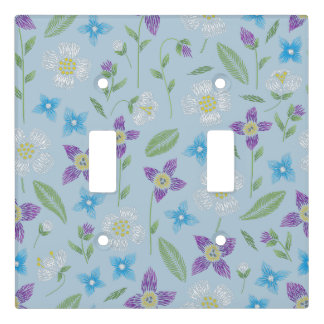 Floral Stitching on Baby Blue Light Switch Cover