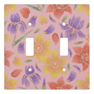Floral Stitching on Coral Blush Light Switch Cover