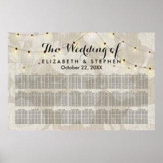 Floral String Lights Linen Wedding Seating Chart Poster