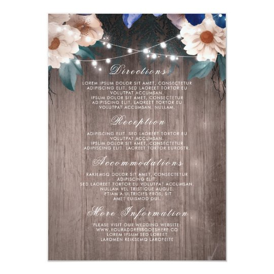Floral String Lights Rustic Wood Wedding Details Card