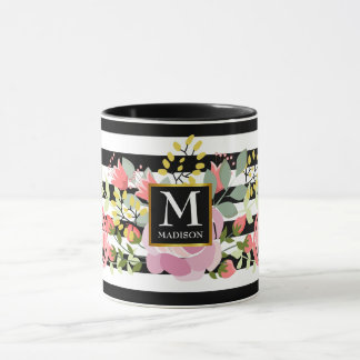 Floral striped monogram mug