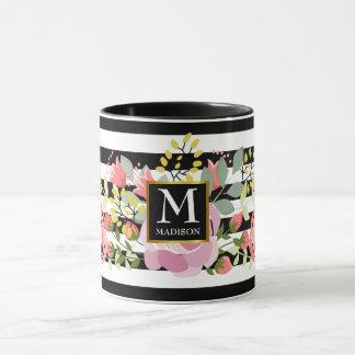 Floral striped monogram mug