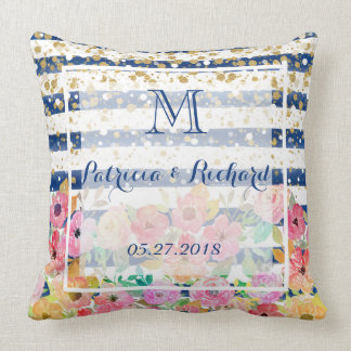 Floral stripes and confetti wedding design throw pillow