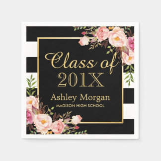 Floral Stripes Class of 2017 Graduation Disposable Napkin