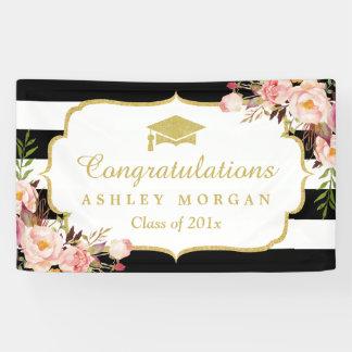 Floral Stripes Glam Congrats Grad Graduation Party Banner