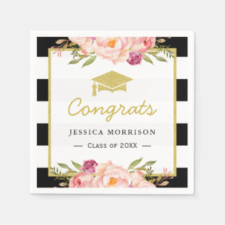 Floral Stripes Glam Congrats Grad Graduation Party Paper Napkins