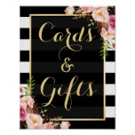 Floral Stripes Gold | Cards and Gifts Wedding Sign