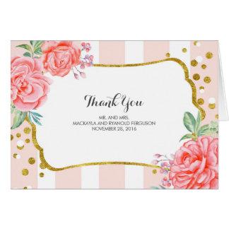floral stripes - gold confetti wedding thank you card