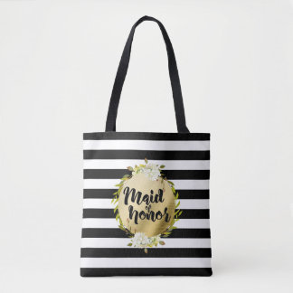 Floral & Stripes Maid of Honor | Tote